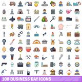 100 business day icons set, cartoon style. 100 business day icons set in cartoon style for any design vector illustration Royalty Free Stock Photo