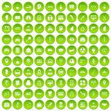 100 business day icons set green circle. Isolated on white background vector illustration Royalty Free Stock Photography