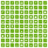 100 business day icons set grunge green. 100 business day icons set in grunge style green color isolated on white background vector illustration Stock Photo