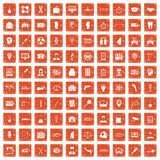 100 business day icons set grunge orange. 100 business day icons set in grunge style orange color isolated on white background vector illustration Stock Photography