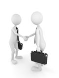 Business deal. 3D persons shaking their hands and finishing a successful business deal Stock Photos