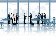 Business Deal. Easy to edit vector illustration of business deal in office with business people vector illustration