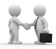 Business deal. Two 3d humans give their hand for handshake Stock Photos