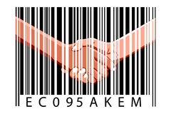 Business deal with bar code Royalty Free Stock Photography