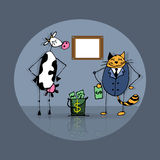 Business deal cat and cow Royalty Free Stock Photos