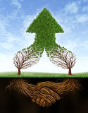 Business Deal Growth. And team partnership with the roots of two trees  in the shape of a human hand shake and the empty branches succeeding in the form of a Stock Photo