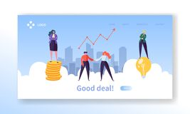 Business Deal Handshake Concept Landing Page. People Character make Partnership Deal. Teamwork Contract Agreement. Relationship Website or Web Page. Flat royalty free illustration