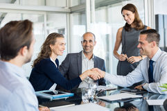 Business deal with handshake royalty free stock image
