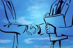 Business deal I. Illustration of business deal handshake - blue background with clouds stock illustration