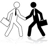 Business deal. Icon illustration showing two stick figures dressed up as businessmen shaking hands Stock Photography