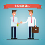 Business deal. People shaking hands. Vector flat illustration. Royalty Free Stock Image