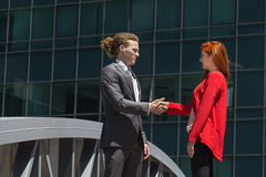 Business Deal. Business women shakes hands with business man Royalty Free Stock Photo