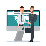 Business dealing. Handshake business through the screen. Businessmen negotiation. Telecommunication. Business cartoon concept. Vector illustration isolated on stock illustration