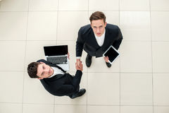 Business dealings. Top view of a dvuhdelovyh people in formal we Royalty Free Stock Photos