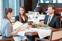 Business deals during lunch at the buffet Stock Images