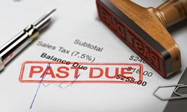 Business Debt Collection or Recovery. Unpaid Invoice. Rubber stamp with the text past due over an invoice document. 3D illustration. Concept of unpaid debt royalty free stock photo