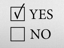 Business Decision. Concept. Paper texture with yes and no check box Stock Images