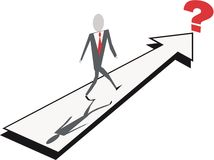 Business decision cartoon. Abstract cartoon of businessman walking on arrow to a question mark Stock Photography