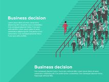 Business decision concept. Possibilities. Confident businessman selecting the best solution. Unique choice among many dark ones. Standing out from crowd Royalty Free Stock Image