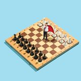 Business decision making concept. Miniature people : small businessman figure standing and walking on chessboard with stock photos