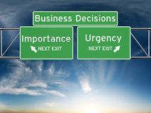 Business decision making focusing on decisions of importance or urgency. Decision making focusing on decisions of importance or urgency royalty free stock photography