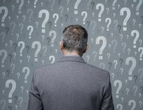 Business decisions. Businessman surrounded by question marks: business decisions, problem solving and risks Royalty Free Stock Photography
