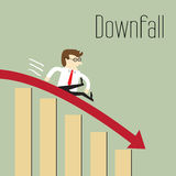 Business decline. Downfall, Chart going through the floor, Business decline stock illustration