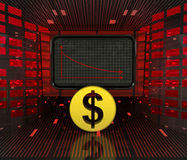 Business decrease or negative results of Dollar currency Stock Photo
