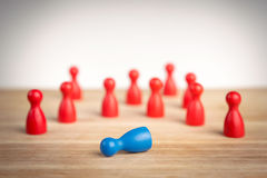 Business defeat or crime scene concept. With game pieces royalty free stock photo