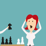 Business defeat. Woman shocked defeated in chess Stock Photography