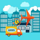 Business delivery 24h internet shopping service. After online purchase concept vector illustration Stock Image