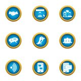 Business delivery icons set, flat style. Business delivery icons set. Flat set of 9 business delivery vector icons for web isolated on white background Stock Image