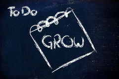 Business demanding growth, message on memo on blackboard. To do list: grow!,design of memo or notepad on blackboard Royalty Free Stock Photos