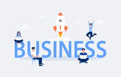 Business design concept. Business word with working people and flying rocket. Flat style. Vector illustration royalty free illustration