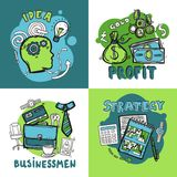 Business Design Concept. Set with idea profit businessman strategy sketch icons isolated vector illustration Stock Photography