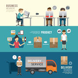 Business design e-shopping concept people set presentation, plan Stock Images