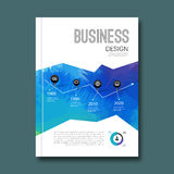 Business design triangle colorful background. Pins and graph infographic, cover magazine, report template vector Royalty Free Stock Images