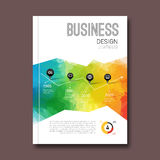 Business design triangle colorful background. Pins and graph infographic, cover magazine, report template vector Royalty Free Stock Photo