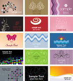Business designs. Large collection of various different business card designs Royalty Free Stock Image