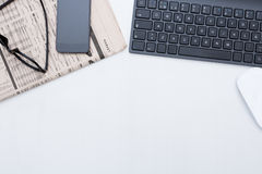 Business desk and a black keyboard Stock Images