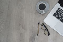 Business desk - flat layout office stock photo