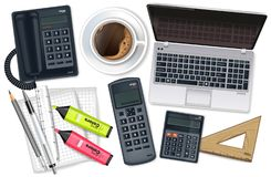 Business desk office set collection Vector realistic. Laptop, cofee, phone and office supplies 3d detailed illustrations royalty free illustration