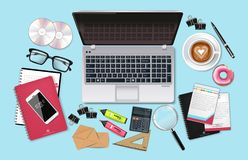 Business desk office set collection Vector realistic. Laptop, cofee, phone and office supplies 3d detailed illustrations vector illustration