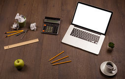 Business desk with office supplies and modern laptop white backg Stock Photo