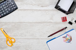 Business desk in office top view banner concept. Business desk in office top view. Table with calculator, notepad, and office supplies. Copy space website banner stock image