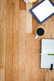 Business desk with tablet and coffee Stock Images