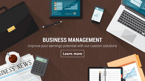 Business desktop. With documents, computer and tools, financial occupation and stock market concept vector illustration