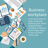 Business desktop with documents. Workplace concept. Business desktop with documents, laptop and office equipment. Documents for the analysis and strategy with Royalty Free Stock Photography