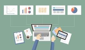 Business desktop illustration. Business desktop illustration with data chart, graph and piechart Stock Photo