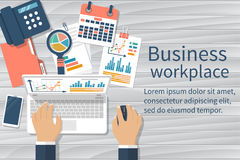 Business desktop vector. Business desktop with documents, laptop and office equipment. Documents for the analysis and strategy with charts and diagrams Royalty Free Stock Image